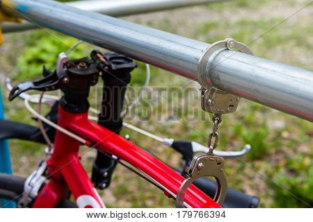 Bicycle Locked And Chained By Handcuff