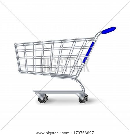 Supermarket Shopping Cart Vector. Side View Empty Shopping Cart Isolated On White