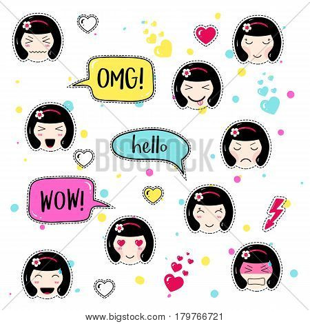 Set of cute patch badges. Girl emoji with different emotions and hairstyles. Kawaii emoticons, speech bubbles omg, hello, wow. Set of stickers, pins in anime style. Isolated vector illustration.