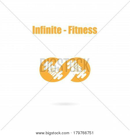 Infinite sign and dumbbell icon.InfinitFitness and gym logo.Healthcaresportmedical and science symbol.Healthy lifestyle vector logo template.Vector illustration poster