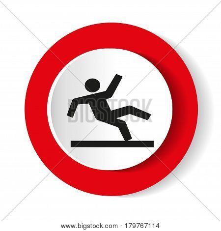 Vector Wet Floor Warning Sign. Round icon.