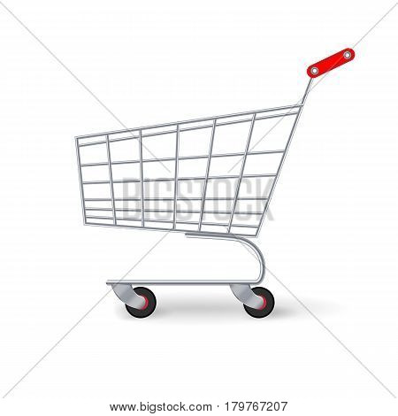 Supermarket Shopping Cart Vector. Empty Classic Chrome Cart Trolley Or Basket