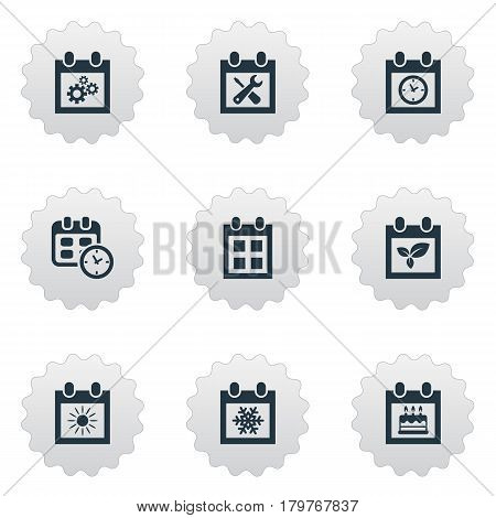 Vector Illustration Set Of Simple Calendar Icons. Elements Almanac, Special Day, Summer Calendar And Other Synonyms Deadline, Winter And Event.