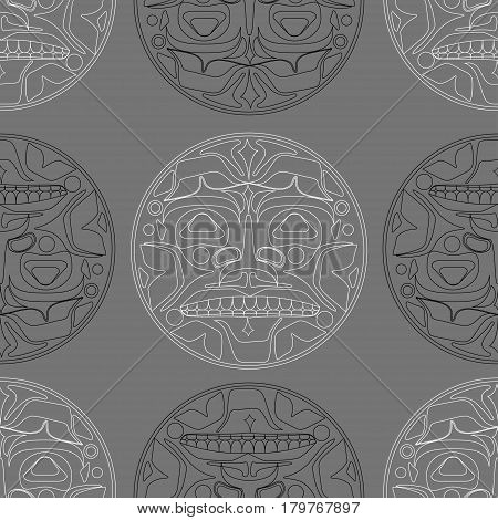 Vector illustration of the sun symbol. Modern stylization of North American and Canadian native art i with native ornament seamless pattern