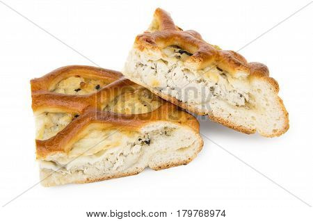 Two Pieces Of Pie Stuffed Isolated On White