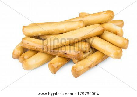 Heap Of Bread Sticks With Salt Isolated On White