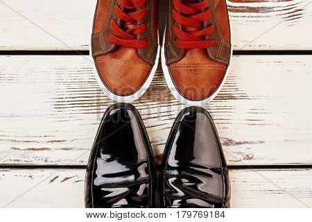 Patent-leather shoes and keds. Footwear for all occasions.