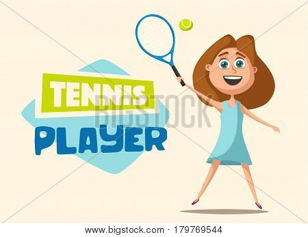 Little tennis player in uniform with the ball. Cartoon vector illustration. Kid character. Happy girl. Summer sport. Good shot. Young and healthy.