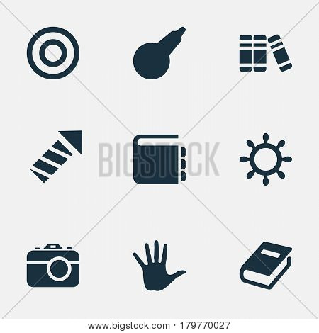 Vector Illustration Set Of Simple Baby Icons. Elements Textbook, Bookshop, Clyster And Other Synonyms Board, Bookshop And Library.