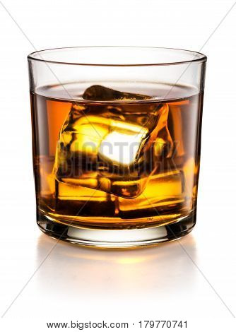 Glass of whisky on the rocks isolated on white background and with clipping path