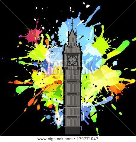 Abstract inkblot colorfull background on black with spluches and silhouette of Big Ben London