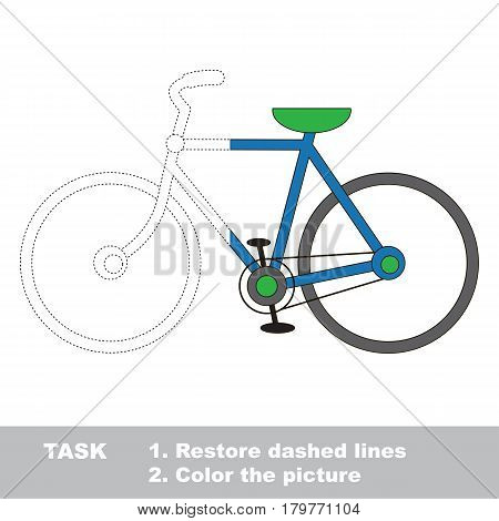 Two wheeled bicycle. Dot to dot educational game for kids, task is to trace and color the colorless half.