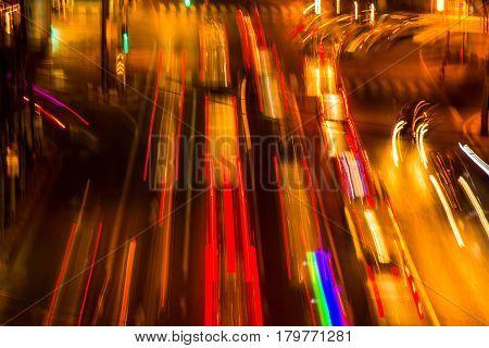 abstact blur bokeh of Evening traffic jam on road in city., night scene