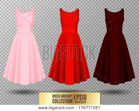 Women's dress mockup collection. Dress with long pleated skirt. Realistic vector illustration. Festive dress without sleeves. Pink red and vinous variation.