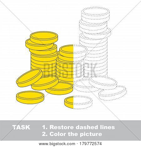 A lot of cash gold coins. Dot to dot educational game for kids, task is to trace and color the colorless half.