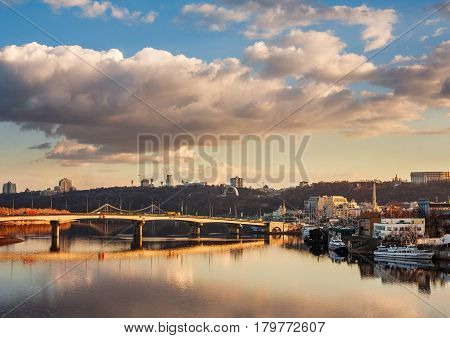 Kiev Ukraine. View of the Dnieper River the Right Bank of the city