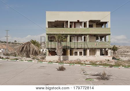 abandoned destroyed building in Campos del Rio, Spain
