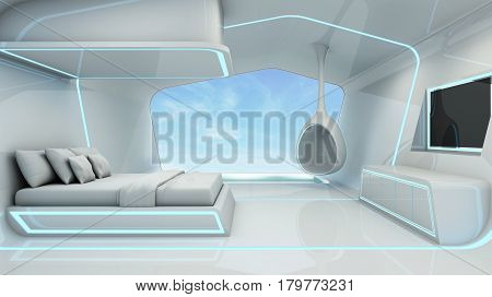 Bedroom Scifi in white space blue light pool take a view sky -3D render