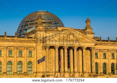 Berlin Reichstag At Sunset, Germany