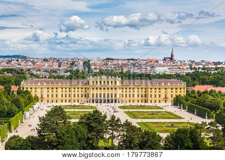 Classic View Of Famous Schonbrunn Palace, Vienna, Austria