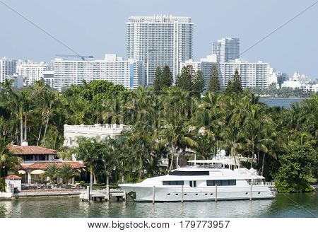 The luxury yacht docked in Palm Island of Miami (Florida).