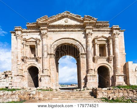 View Of Arch Of Hadrian In Jerash (gerasa) Town