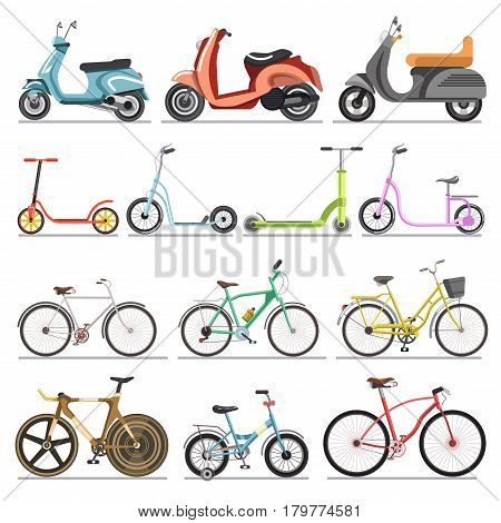 Bicycles or bikes and scooters vector icons set. Electric and pedal wheel vehicles types set for sport, home and recreation ride use