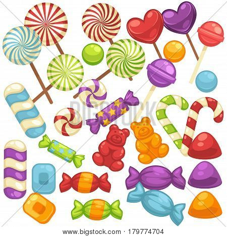Candy and caramel sweets icons. Vector isolated flat set of lollipops, sweetmeats, toffee, candy canes, marmalade comfits and tutti-frutti