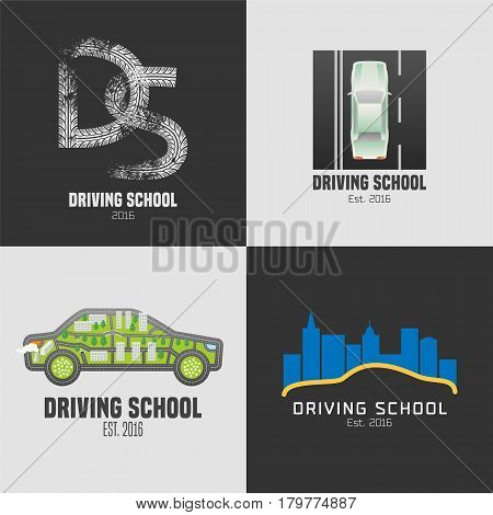 Collection of driving school vector emblems. Car on th e road graphic design element. Professional driving lessons for auto license concept illustration