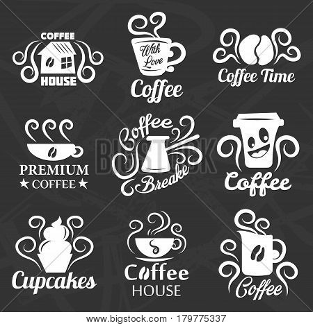 Coffeehouse of coffee shop vector logo templates. Isolated icons set of coffee cup or mug and beans with cupcakes for cafe or cafeteria label design and menu