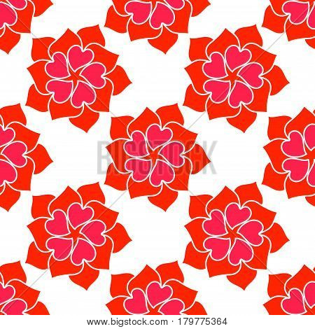 Vector Flower From Red Heart Seamless Pattern Over White.. Texture for romantic designs, valentine s day and other love projects.