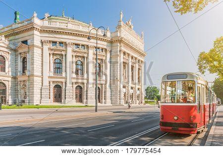 Wiener Burgtheater With Traditional Tram, Vienna, Austria