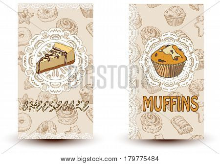 Cheesecake and muffins. Hand drawn vector illustration. Promotional brochure with pastries. Bakery shop. Perfect for restaurant brochure cafe flyer delivery menu. Ready-to-use design template with sketch illustrations