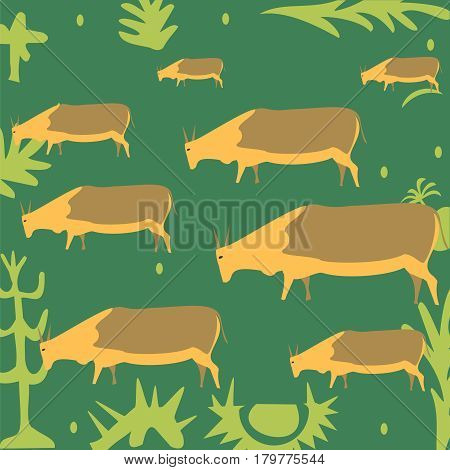 Farming abstract herd of brown cows on spring blooming meadow. Vector countryside background