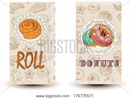 roll and donuts Bakery shop. Perfect for restaurant brochure cafe flyer delivery menu.