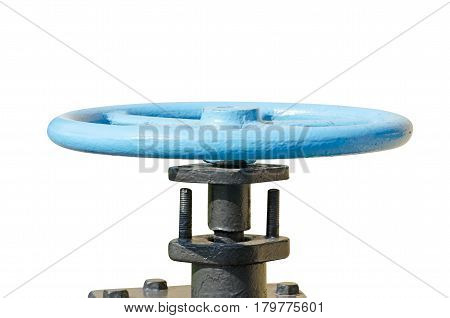 Old water valve painted in black and blue