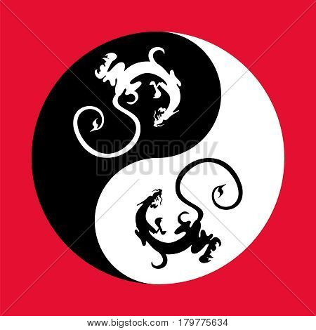 Dragons in the shape of the yin yang, symbol of harmony and balance.
