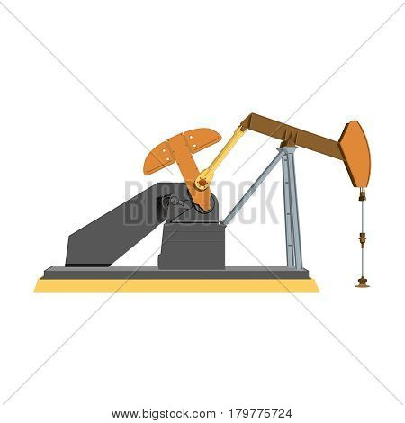 Industrial equipment for oil extraction., oil pump working, isolate on white background. Vector illustration.