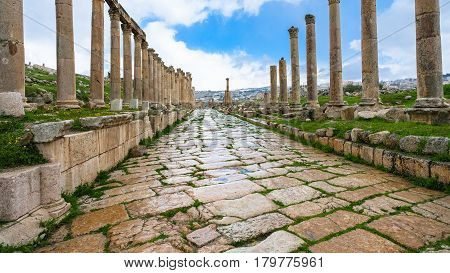 Wet Cardo Maximus Street In Jerash (gerasa) Town