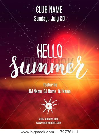 Party poster template for summer night party. Hello Summer calligraphic message. Vector illustration.