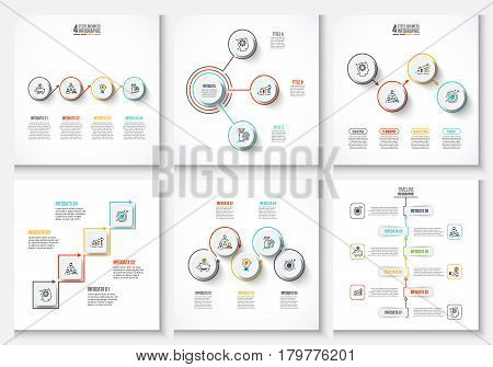 Vector clean minimal infographic elements for presentation. Business data visualization. Abstract elements of graph, diagram with 3, 4, 5 and 6 steps, options, parts or processes.