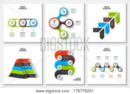 Vector circles, pyramid and other elements for infographic. Template for diagram, graph, presentation and chart. Business concept with 3, 4, 5, 6 and 7 options, parts, steps or processes.