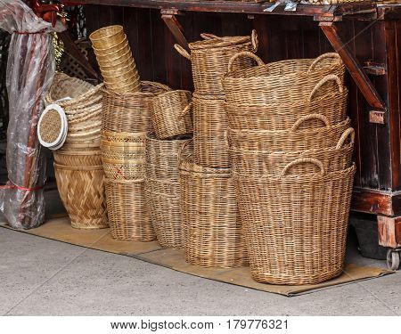 The Handmade wicker basket beautiful at object natural.