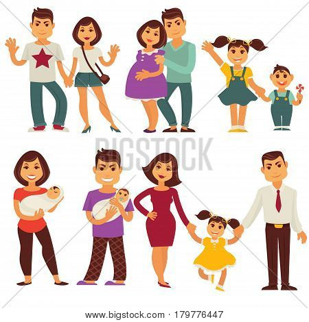 Family vector flat icons set. Mother, father and children characters of pregnant woman and man with newborn girl, happy boy with sister and brother