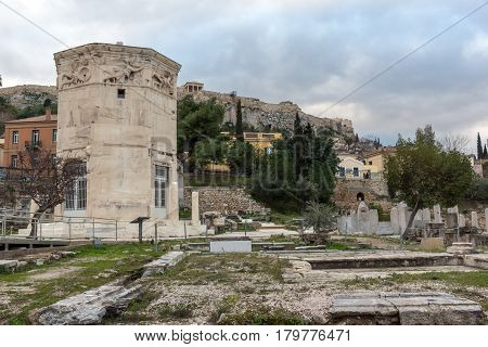 Sunset view of Roman Agora in Athens, Attica, Greece