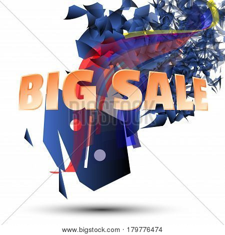 Abstract Explosion Concept Discount Offer. Big sale up to off with gold text.