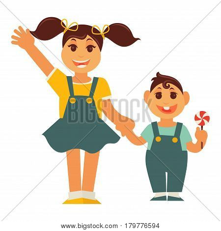 Sister and brother holding by hands. Family children characters of young boy and girl. Vector flat design