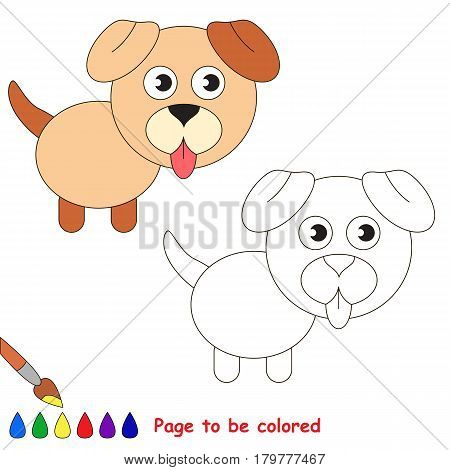 Dog Puppy to be colored, the coloring book for preschool kids with easy educational gaming level.