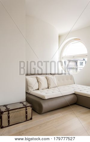 Minimalistic Interior With A Sleeper Sectional