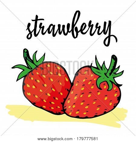 strawberry is hand-painted in a very simple circuit and strokes